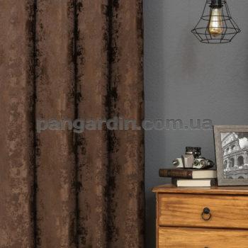 Темно-шоколадная штора с рисунком под мрамор Marble 8