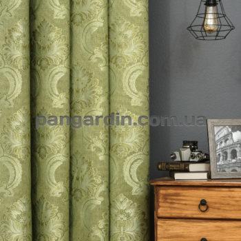 Зеленая штора с рисунком корона Caterfil 1